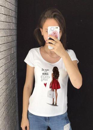 Женская футболка с принтом - девушка в красном платье, футболк...