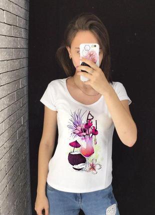 Женская футболка с принтом - коктейль, футболка с рисунком