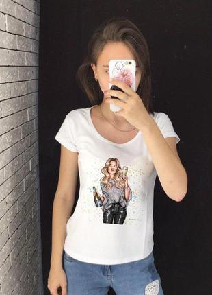 Женская футболка с принтом - шампанское, футболка с рисунком