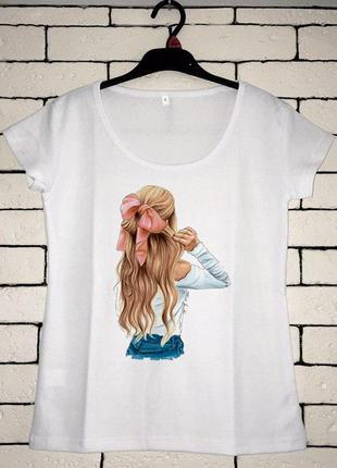 Женская футболка с принтом, футболка с рисунком - девушка с ба...