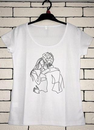 Женская футболка с принтом - любовь, футболка с рисунком