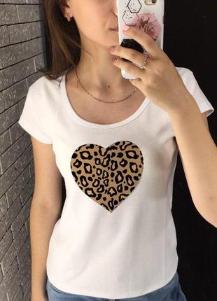 Женская футболка с принтом, футболка с рисунком - сердце