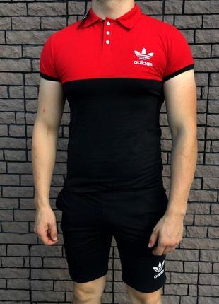 Мужской комплект шорты+футболка - в стиле adidas (чёрный с кра...