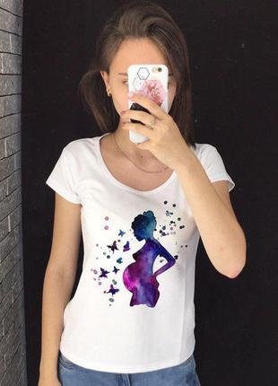 Женская футболка с принтом - для беременных, беременная девушк...
