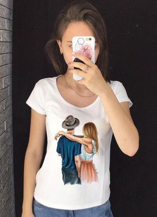 Женская футболка с принтом - пара, девушка с парнем, футболка ...