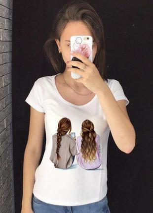 Женская футболка с принтом - подружки, футболка с рисунком