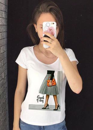 Женская футболка с принтом - деловая девушка, футболка с рисунком