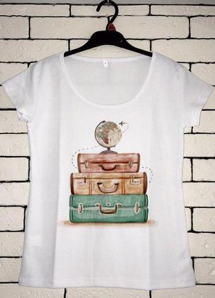 Женская футболка с принтом - чемоданы, футболка с рисунком