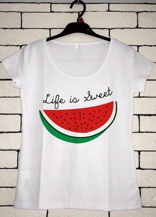 Женская футболка с принтом - арбуз, лето, футболка с рисунком