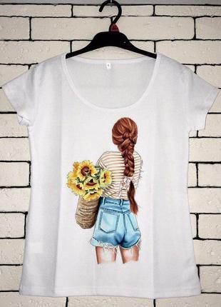 Женская футболка с принтом - девушка с цветами, футболка с рис...