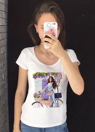 Женская футболка с принтом - девушка на велосипеде, фиолетовые...