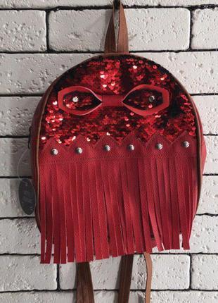 Рюкзак - красный с бахромой
