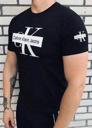 Мужская футболка - в стиле calvin klein jeans (синяя)