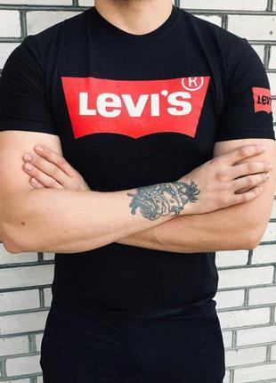 Мужская футболка - в стиле levi`s {чёрная}