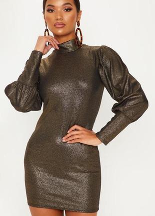 Шикарное вечернее платье мини с длинными объёмными рукавами на...