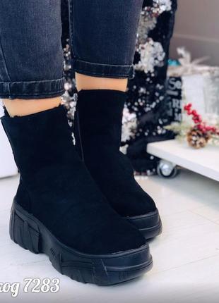 Зимние спортивные черные ботинки на платформе