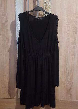 Стильное платье с воланами и вырезами на рукавах (можно для бе...