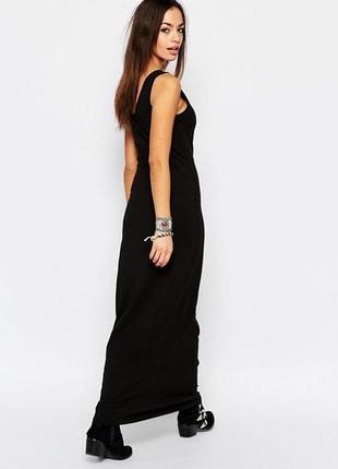 Базовое черное платье майка в пол
