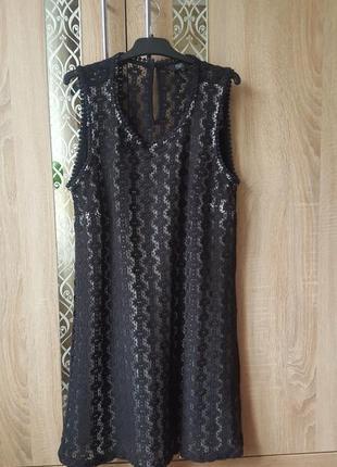 Стильное платье-трапеция с плотным кружевом