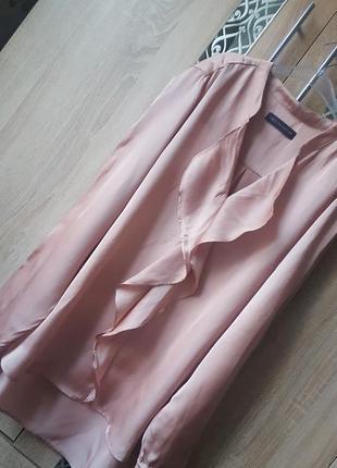 Элегантная нежная блуза с воланом цвета нюд ,большой размер