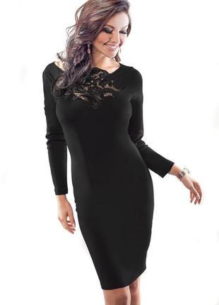 Изысканное миди платье по фигуре с кружевом