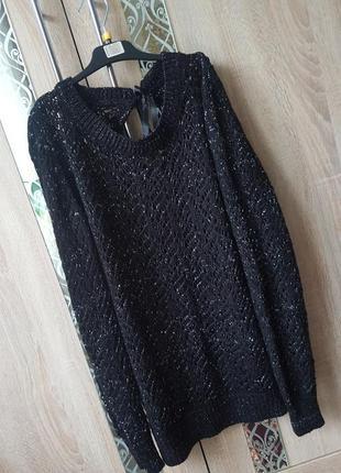 Кружевной ажурный свитер с люрексом и красивой спинкой-завязкой