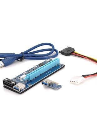 Riser PCI-EX, x1=>x16, 4-pin MOLEX, SATA=>4Pin, USB 3.0 AM-AM ...