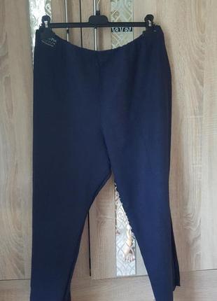 Темно-синее льняные брюки батал 20р