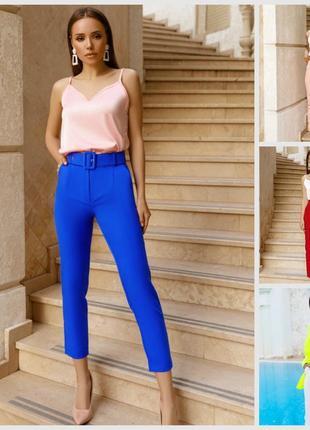 Новые укороченные брюки с высокой посадкой  цвета электрик
