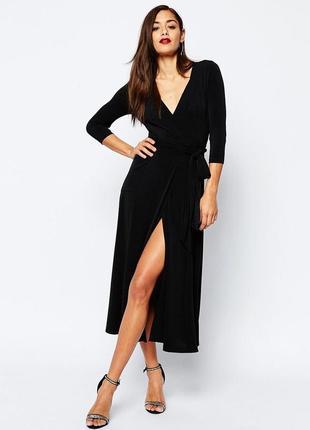 Черное миди платье на запах