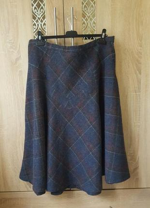 Теплая шерстяная юбка в клетку большого размера (батал)