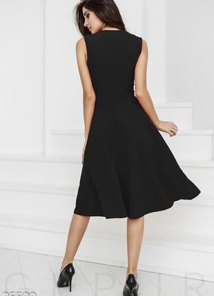 Элегантное миди платье, лаконичное классическое черное платье ...