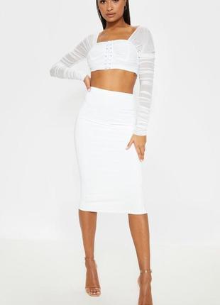 Плотная теплая миди юбка карандаш, вязанная юбка,