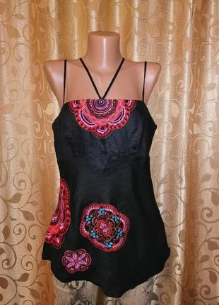 🌺🎀🌺красивая черная льняная майка, топ, блузка с вышивкой wareh...