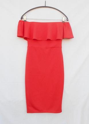 Красивое нарядное фактурное облегающее платье миди на плечики ...