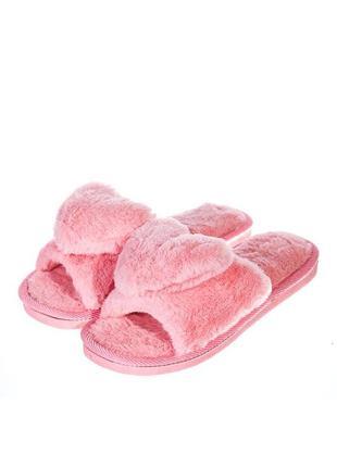 Домашние тапочки с мехом плюшевые (с сердцем)