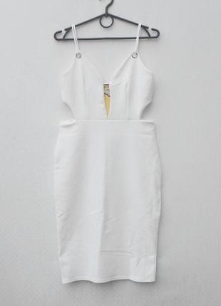 Белое летнее сексуальное трикотажное облегающее платье in style 🌿