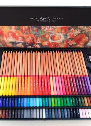 Олівці кольорові Marco Renoir FineArt 100 кольорів кедр метале...