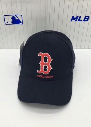 Зимние теплые бейсболки кепки boston red sox от mlb шерсть ори...