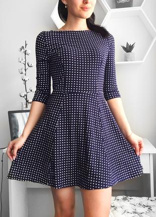 Темно-синее платье в горошек topshop