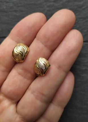 Золотые серьги 750 проба, лимонное золото, сережки, кульчики, ...