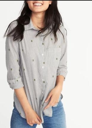 Рубашка-блуза в полоску с принтом