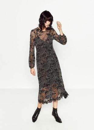 Шикарное вечернее кружевное платье - миди zara ( размер 36-38)