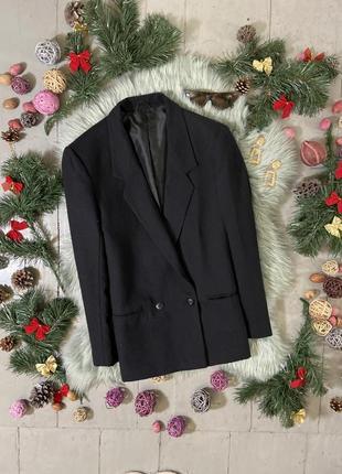 Актуальный винтажный маскулинный шерстяной двубортный пиджак №3