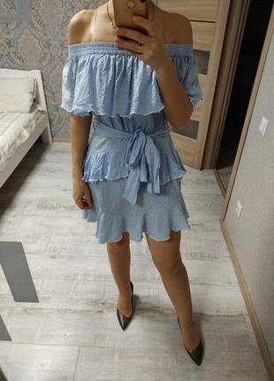 Красивое летнее платье с рюшами воланами хлопок