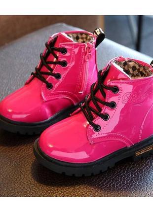 Лакированные ботинки с мехом dinimigi малиновые