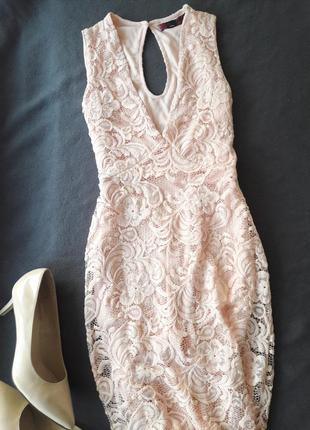 Платье новое гипюр миди нежно розовое