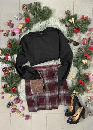 Актуальная тёплая юбка мини на запах №42max