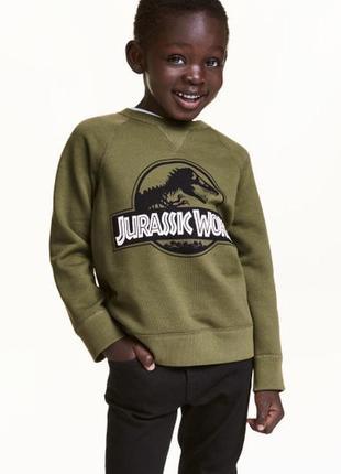 Кофта джемпер свитшот на байке с рисунком динозавр парк юрског...