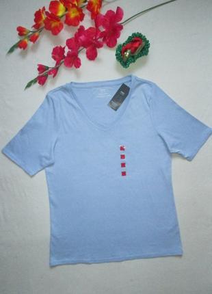 Классная стрейчевая хлопковая базовая голубая футболка 100% хл...